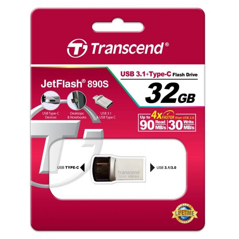 Накопитель Transcend 32GB USB 3.1+Type-C 890 R90/W30MB/s