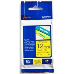 Термо-лента Brother 12mm ламинированная, черный на желтом