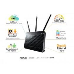 Интернет-шлюз ASUS RT-AC68U 802.11ac AC1900 1x1G WAN, 4x1G LAN