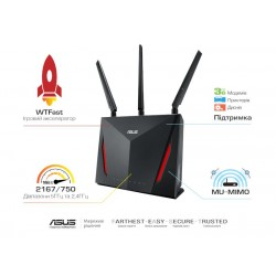 Интернет-шлюз ASUS RT-AC86U 802.11ac AC2900 1x1G WAN, 4x1G LAN
